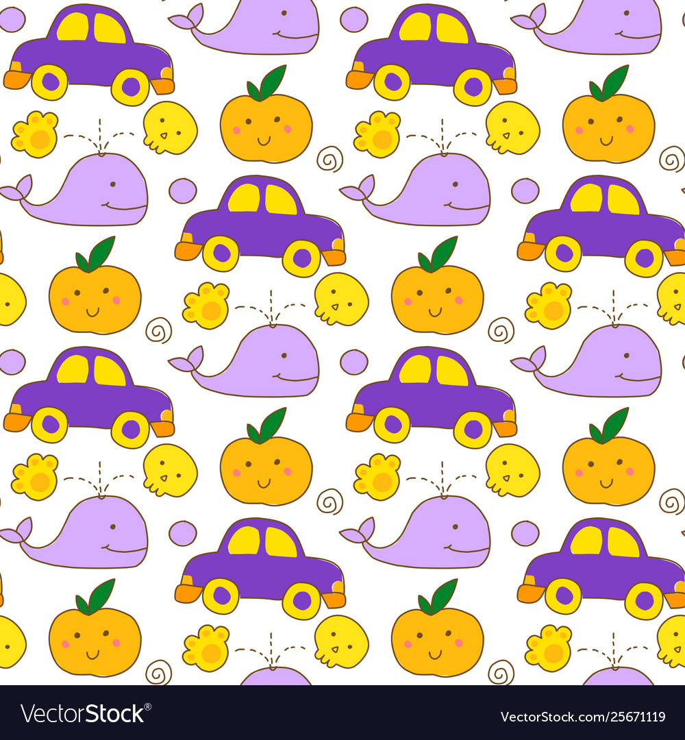 Seamless kawaii child pattern with cute doodles