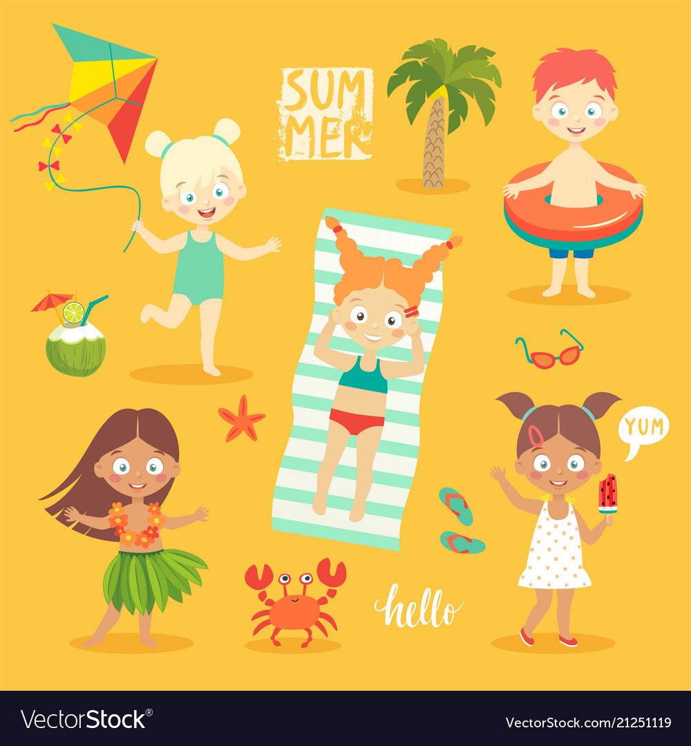 Summer kids set swimming playing on beach