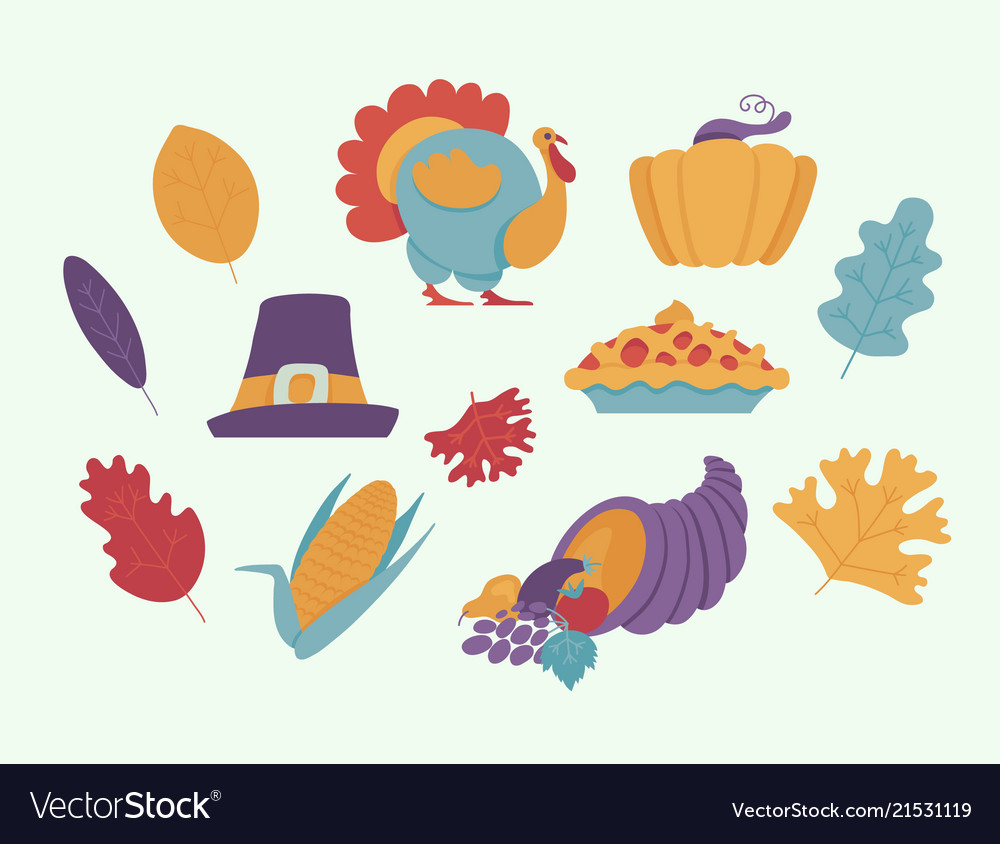 Thanksgiving day elements for holiday design in