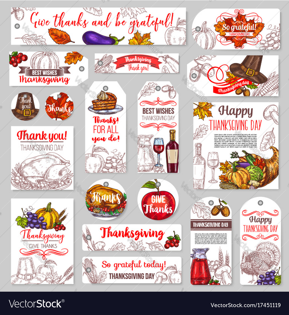 Thanksgiving day sketch holiday tags