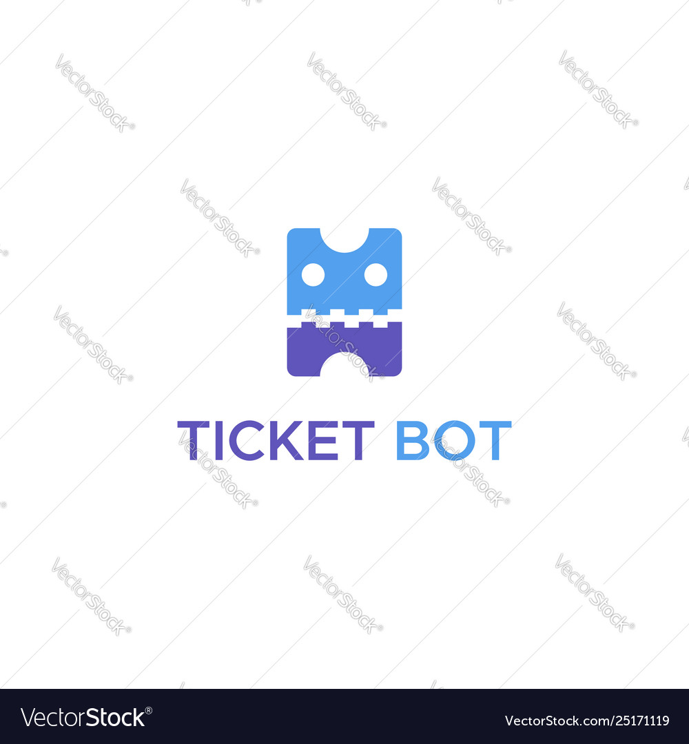 Ticket bot logo vector