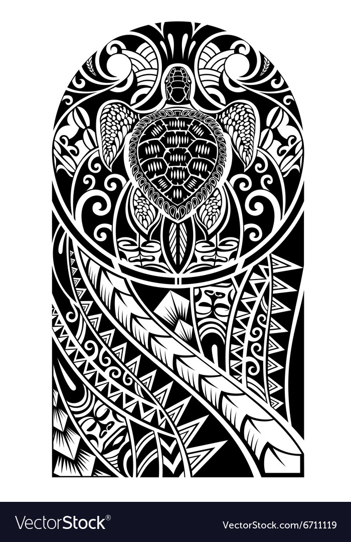 a43f37f0d0256 Traditional Maori tattoo design with turtle Vector Image