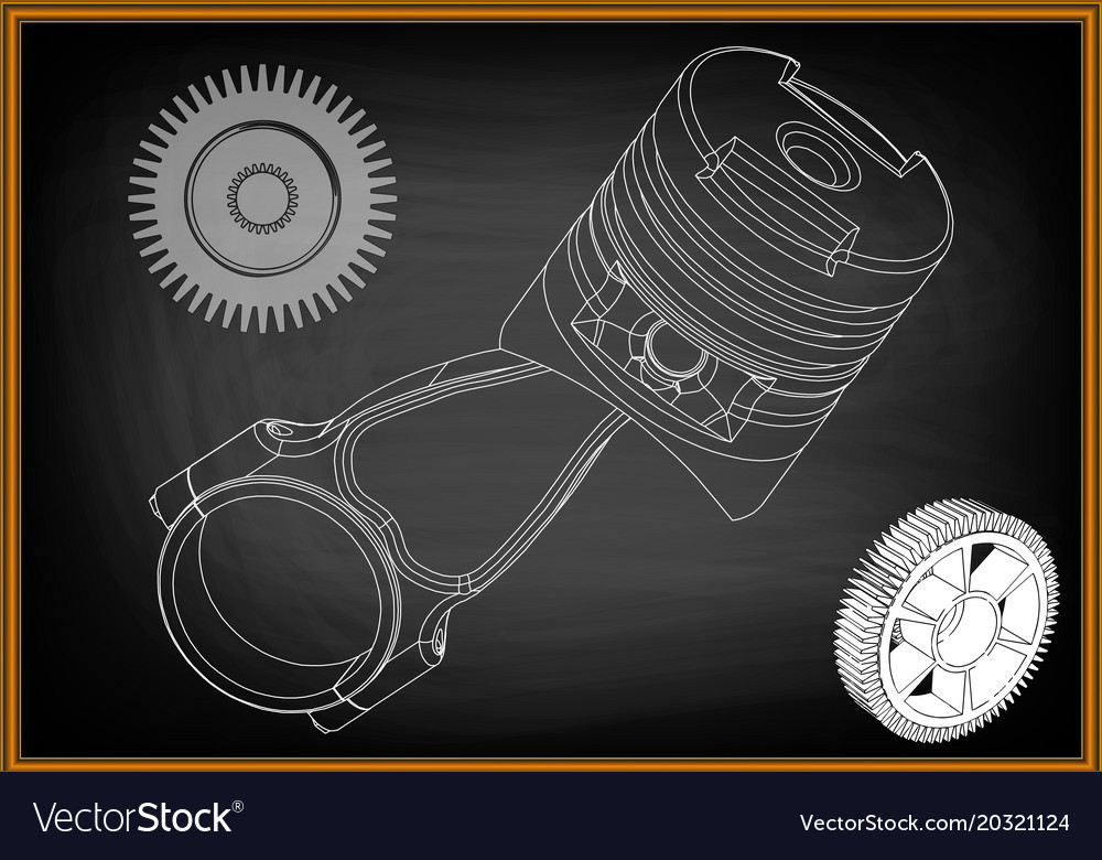 3d model of piston and gear