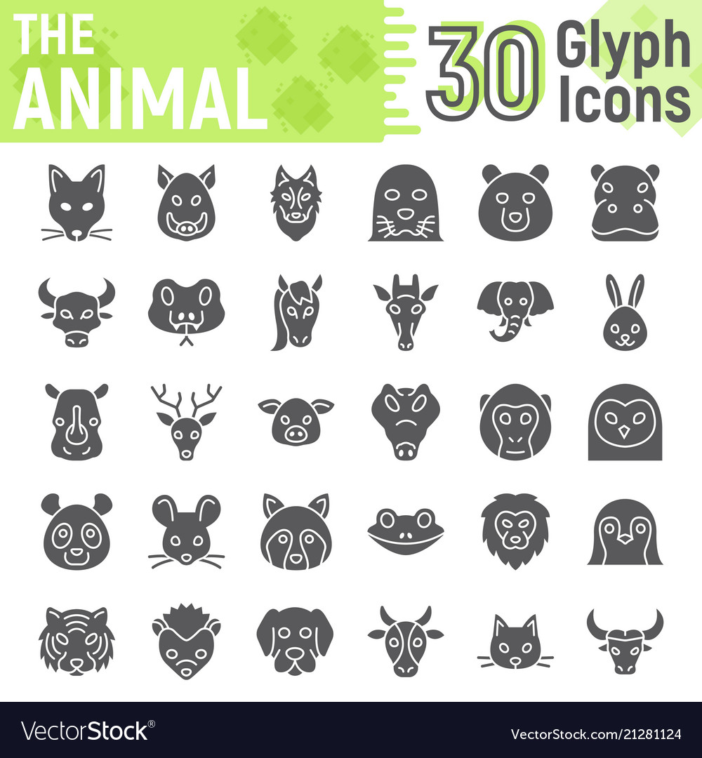 Animal glyph icon set beast symbols collection