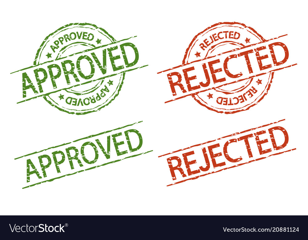 Approved and rejected stamp vector image