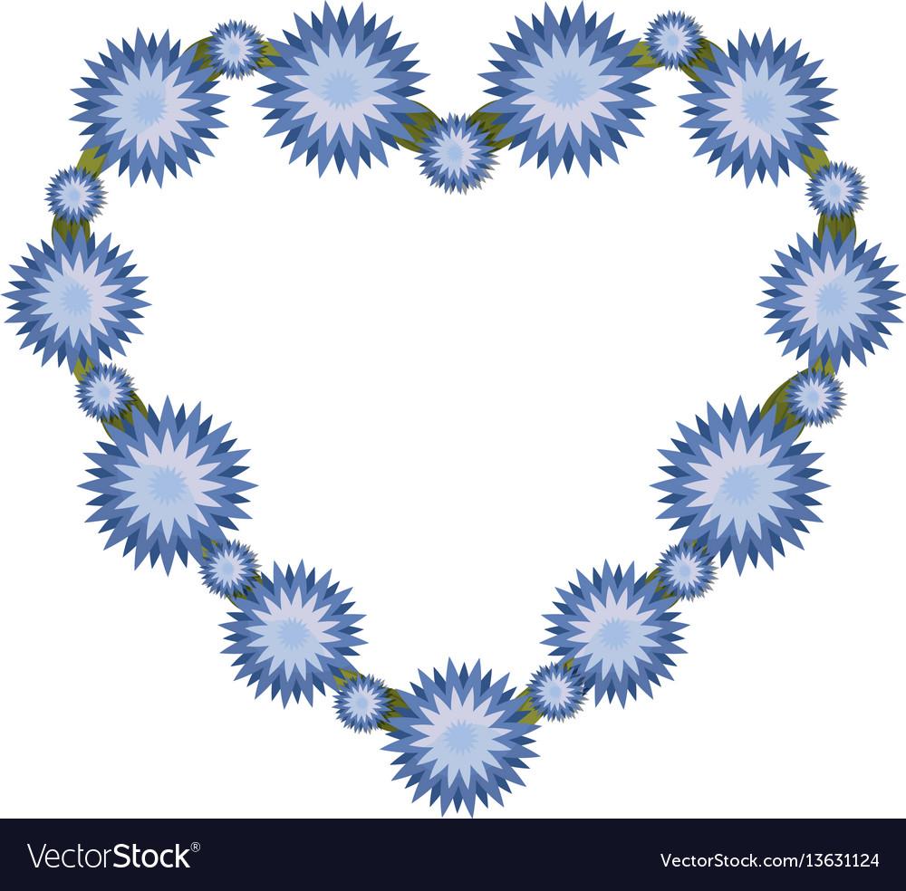 Beauty heart flowers ornament vector image