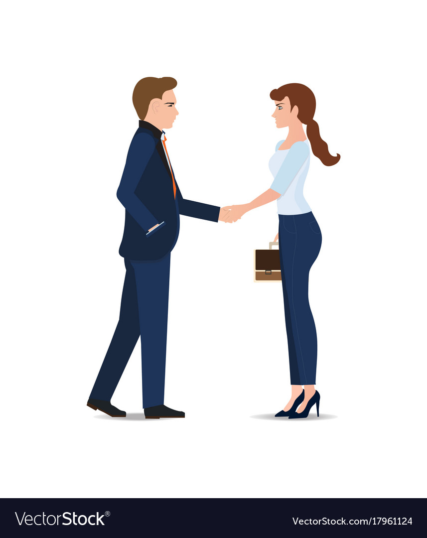 Business man and business woman handshake making