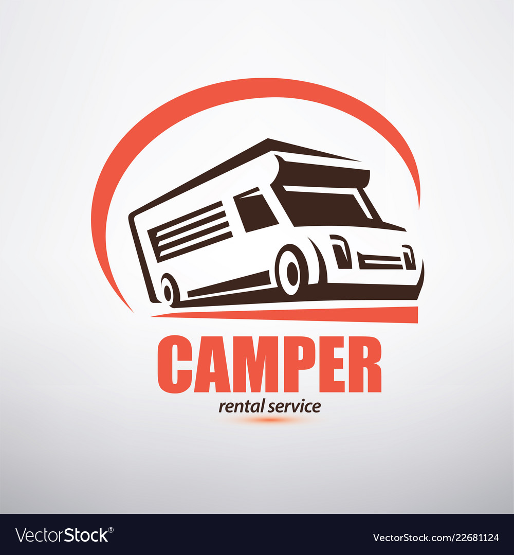 Camper van logo template stylized symbol of