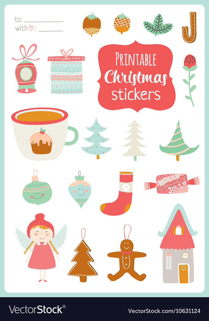 graphic relating to Printable Christmas Stickers referred to as Lovable Playing cards Notes Stickers