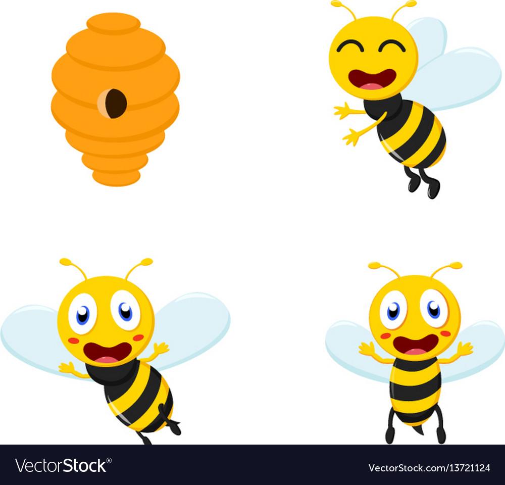 Cute honey bee cartoon collection set vector image