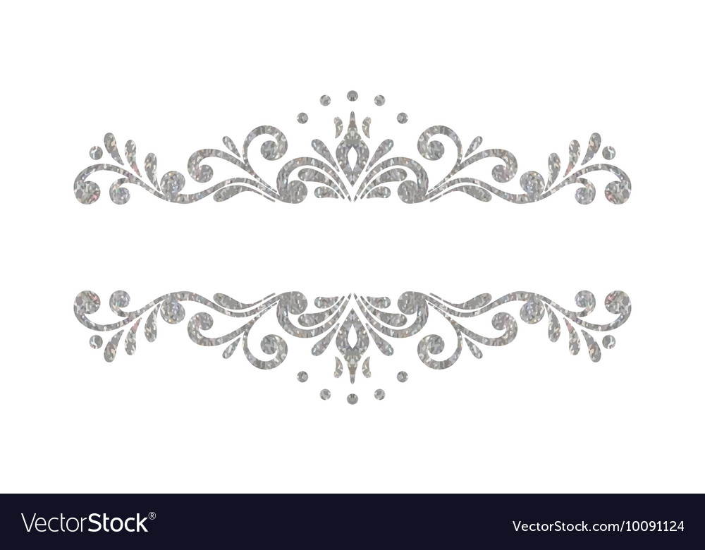 elegant luxury vintage silver floral border vector image