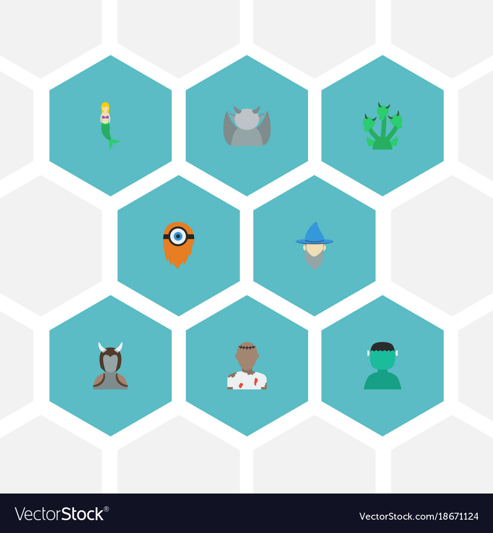 Flat icons fish girl character evil and other vector image