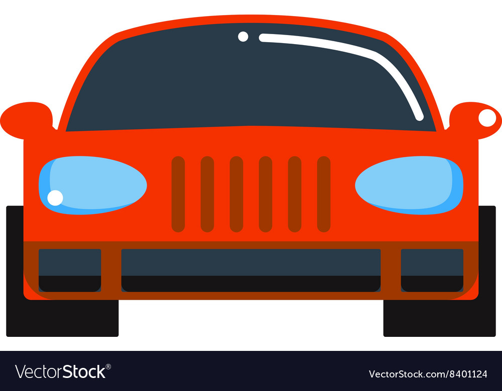 Generic red car front view design flat