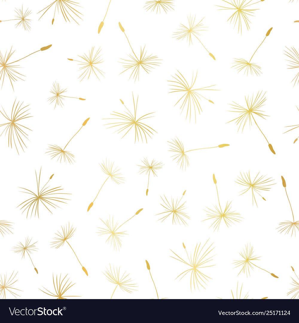 Gold foil dandelion seeds seamless