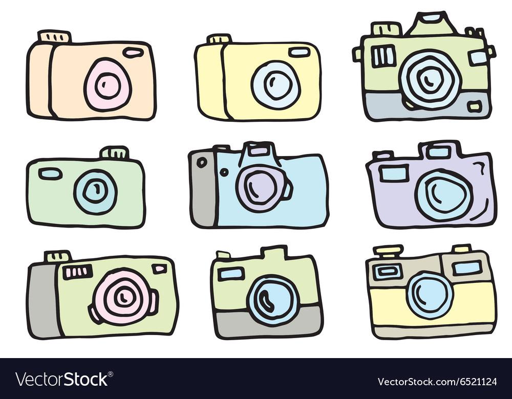 Hand Drawn Set of Cameras