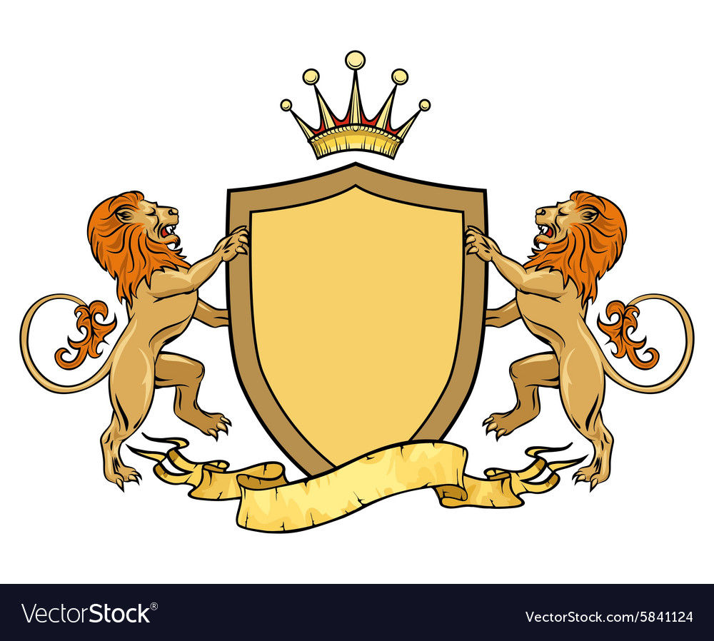 Heraldic lions with shield and ribbon Emblem or