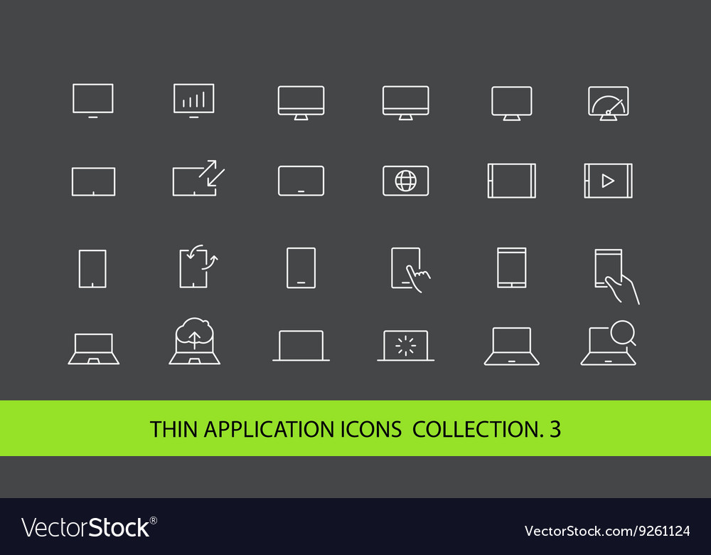 Modern gadgets pictograms collection Lineart
