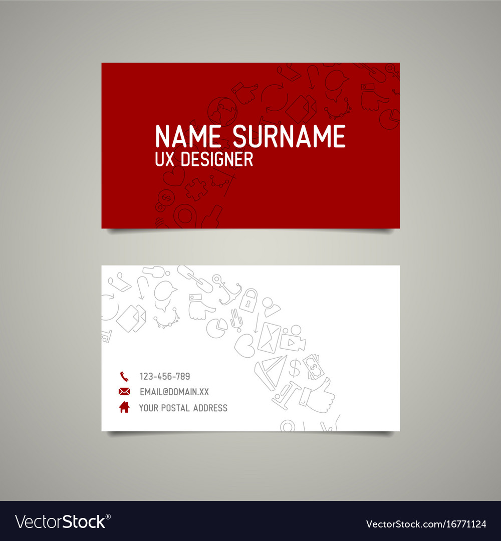 Modern simple business card template for ux vector image wajeb Choice Image
