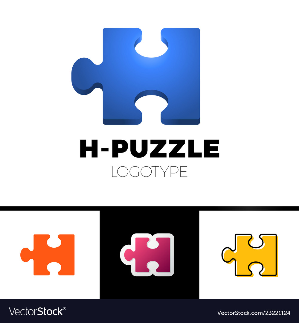 Puzzle 3d h letter logo icon template simple