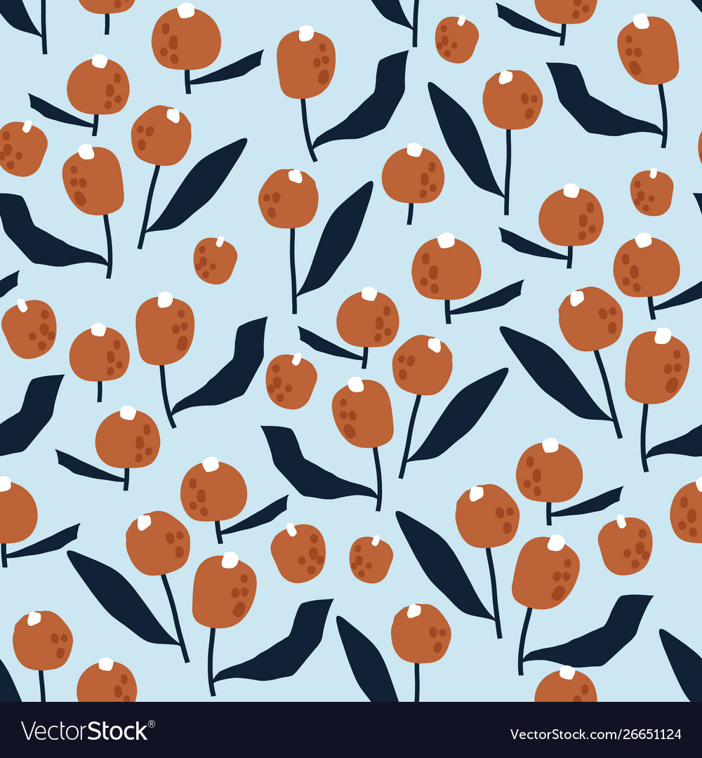 Seamless pattern with flowers in simple style