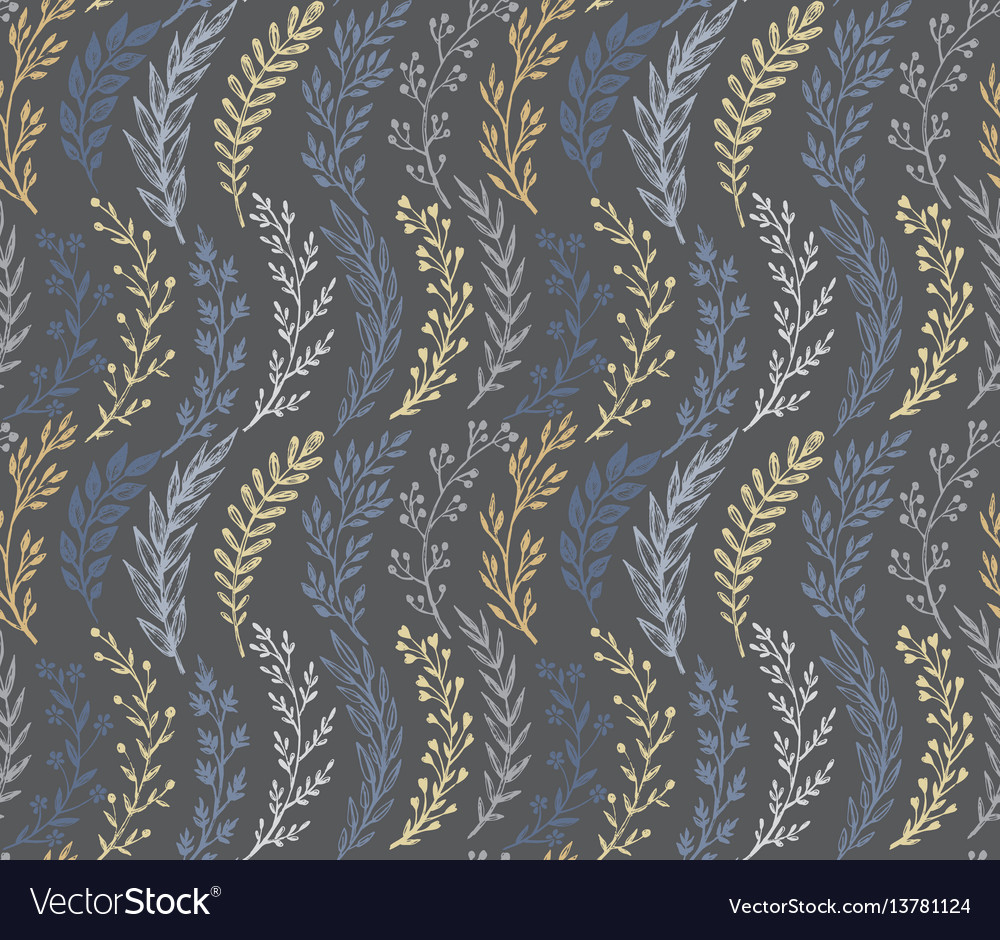 Seamless pattern with hand drawn leaves and vector image