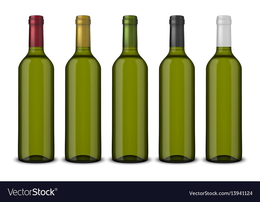 Set 5 realistic green bottles of wine