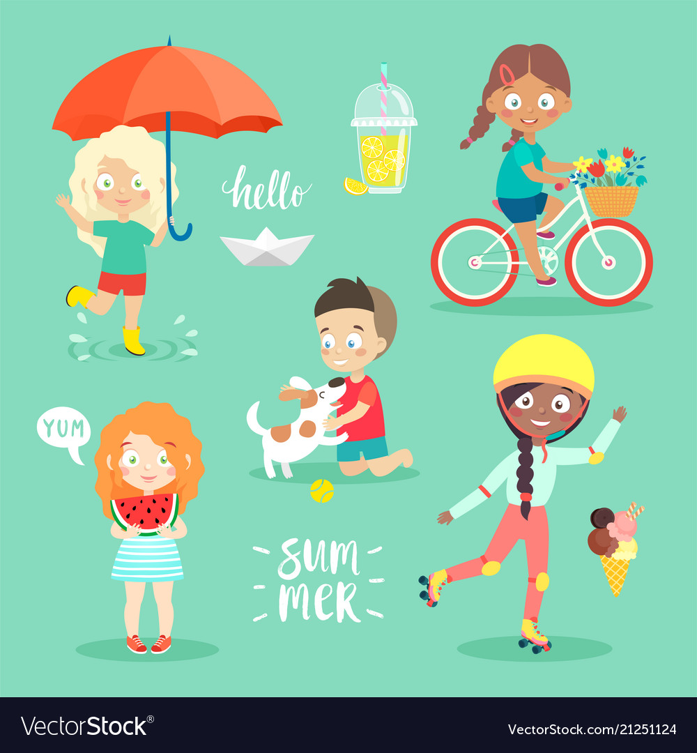 Summer kids set riding bicycle playing and