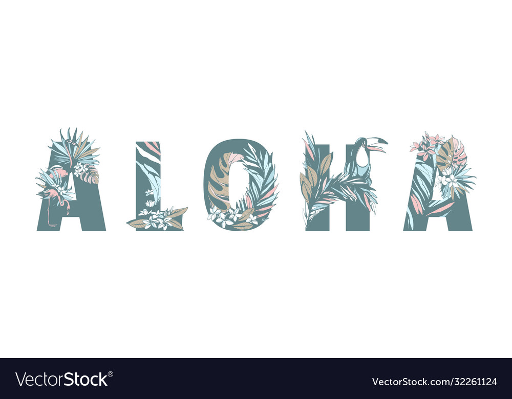 Tropical summer pattern hand drawn aloha palm
