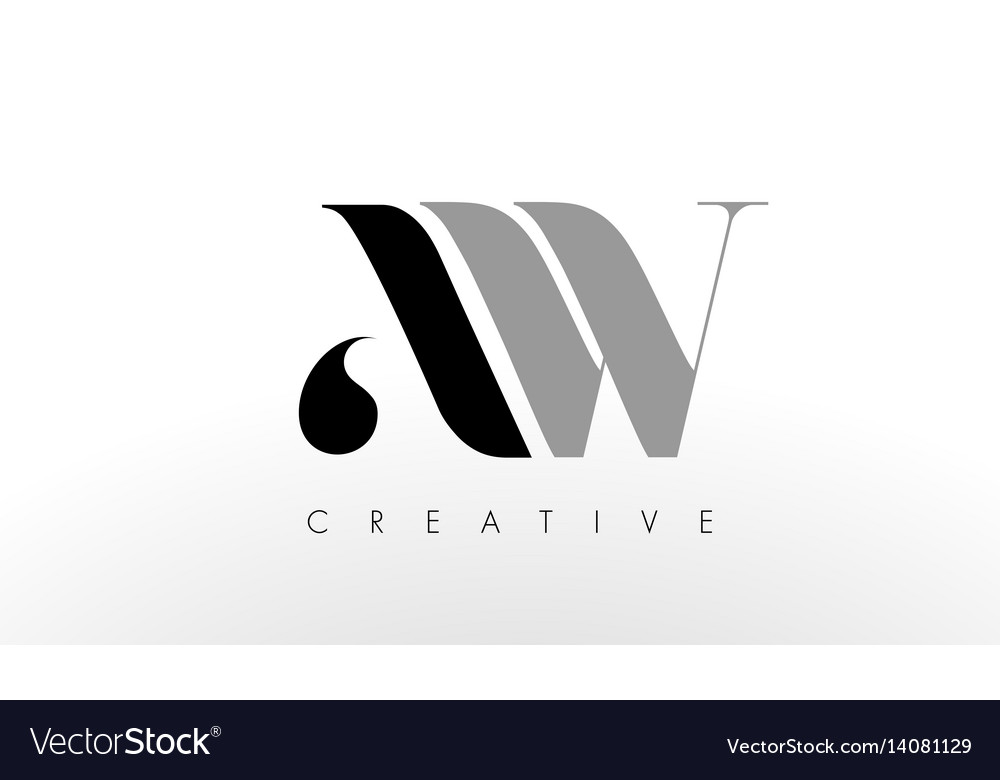 A w letter logo design creative aw letters icon Vector Image