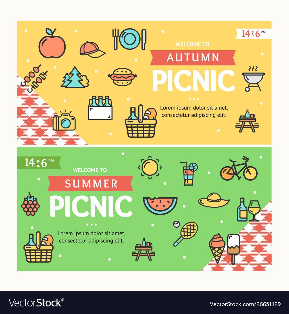 Autumn and summer picnic banner horizontal set