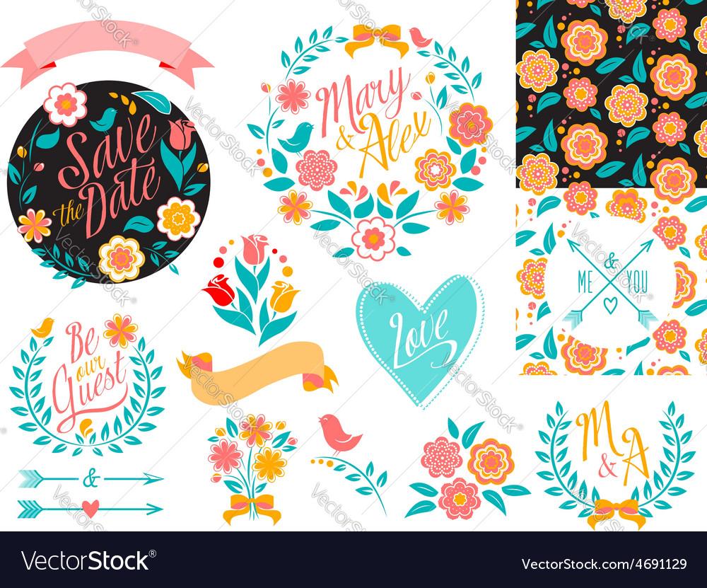 Big wedding graphic set arrows hearts laurel