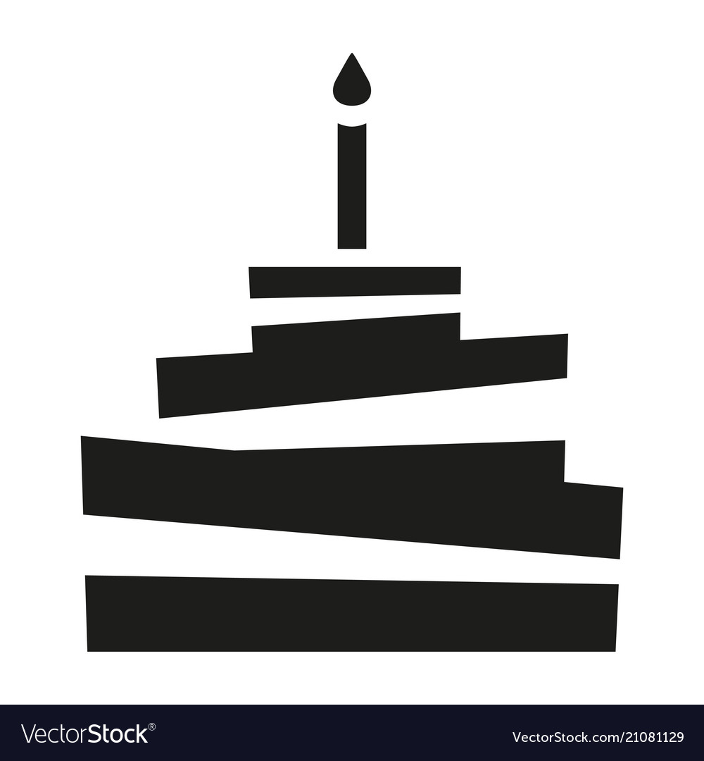 Black and white birthday cake silhouette
