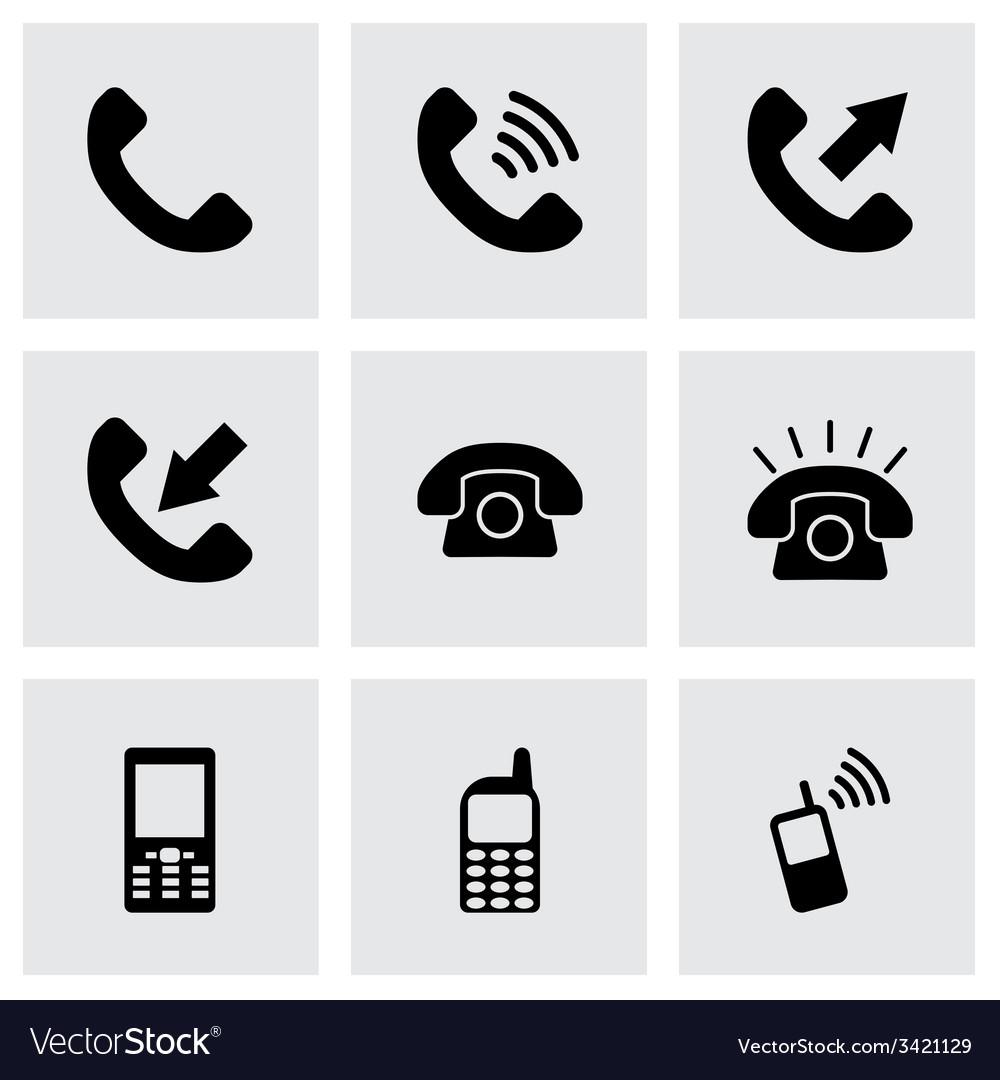 Black telephone icon set