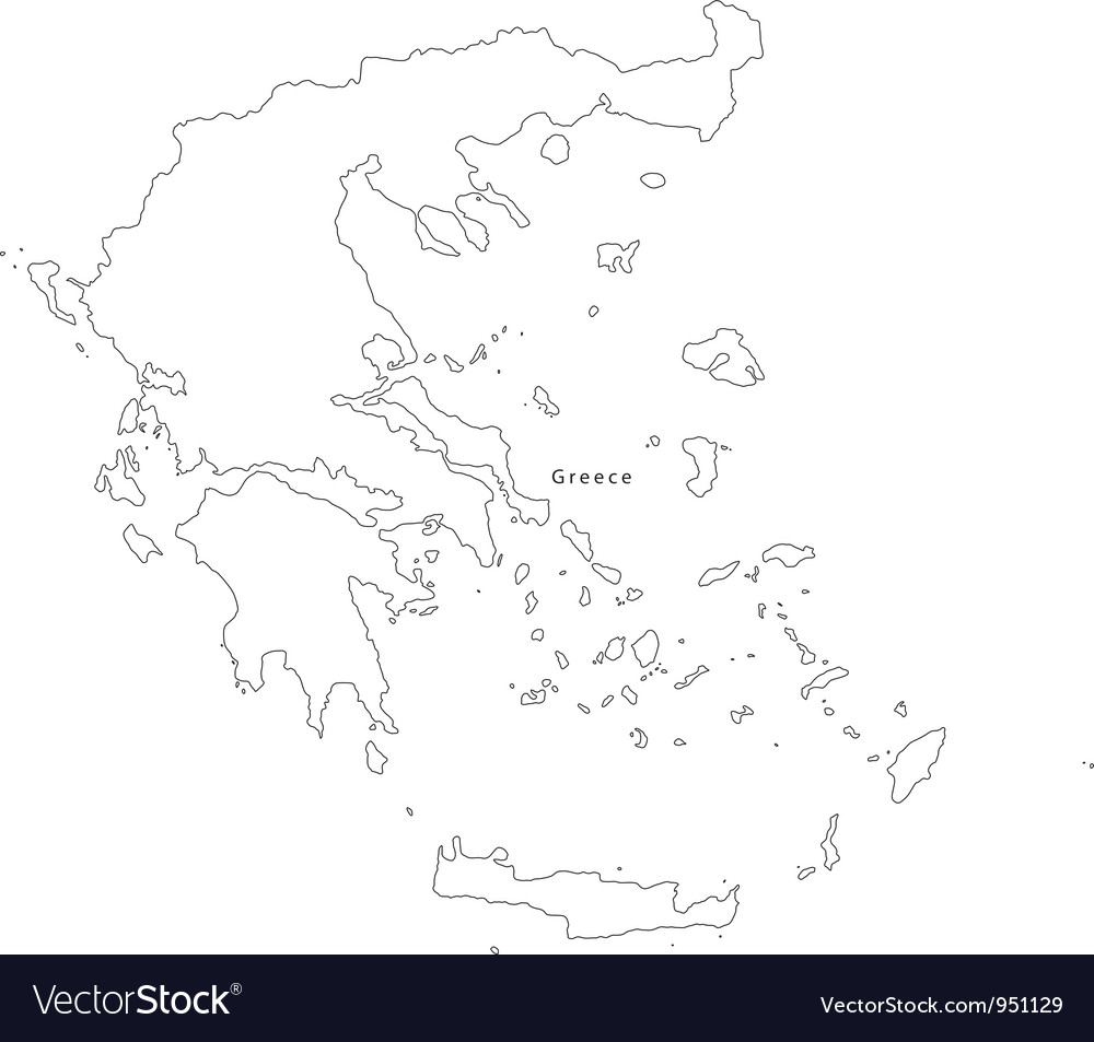 Black White Greece Outline Map Royalty Free Vector Image