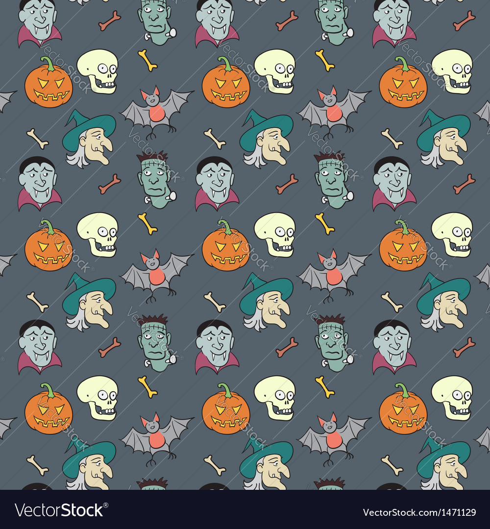 Colorful Textile Halloween Fun Pattern vector image