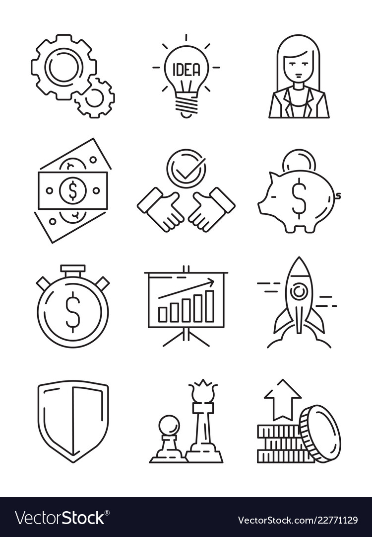 Finance line icons business symbols team strategy