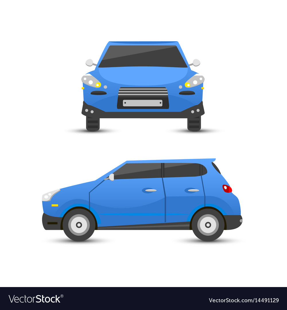 Flat blue car vehicle type design sign style vector image
