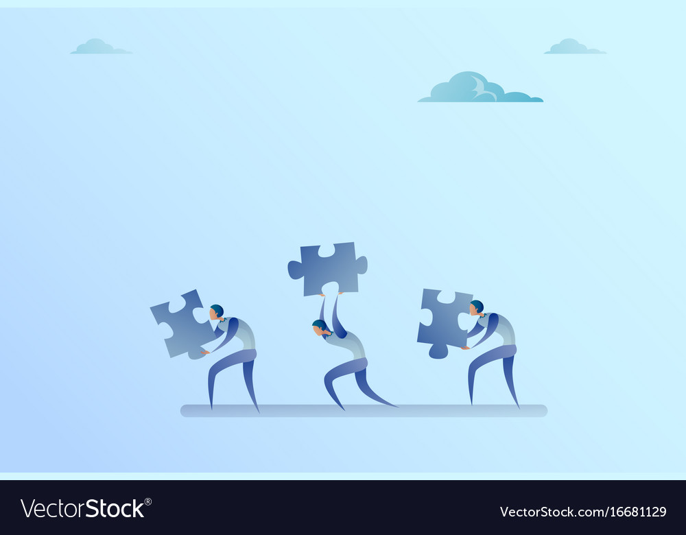 Group of business people carry puzzle parts