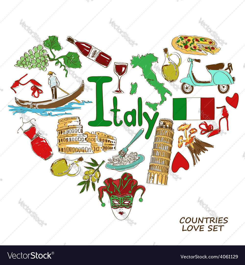 Italian Symbols In Heart Shape Concept Royalty Free Vector