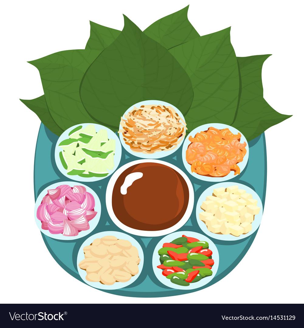 Leaf wrapped salad bite thai appetizer vector image
