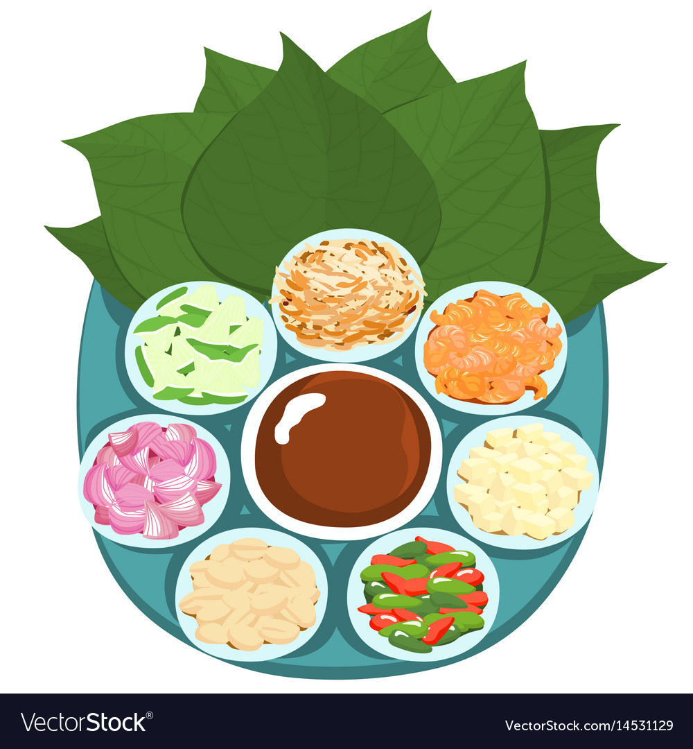 Leaf wrapped salad bite thai appetizer