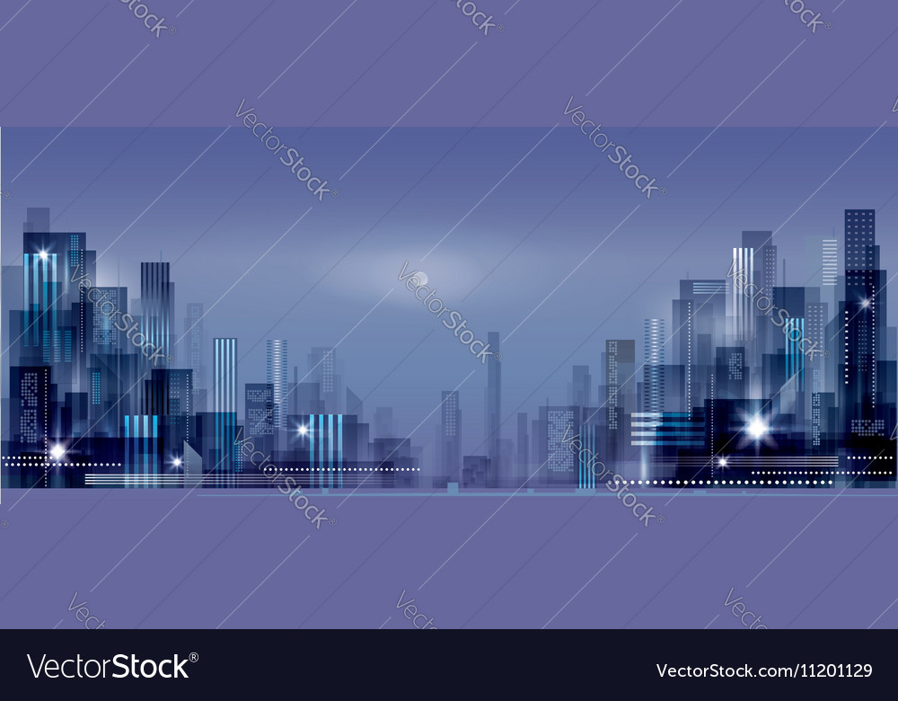 Modern night city skyline