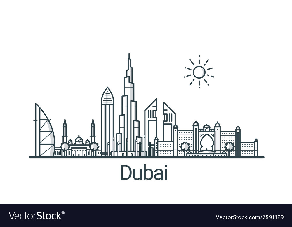Outline Dubai banner vector image