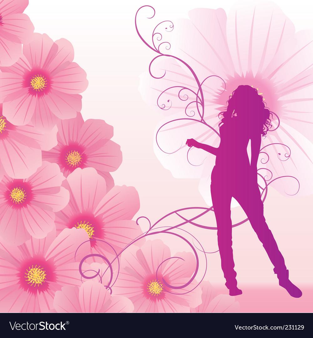 Pink cosmos flowers girl dance vector image