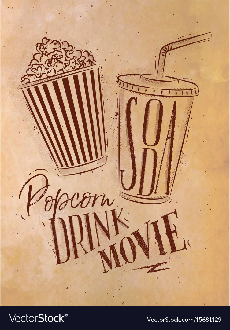 Poster soda popcorn craft