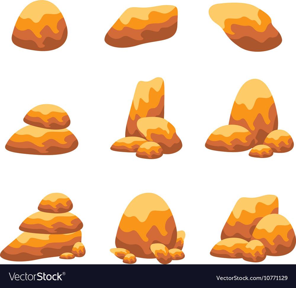 Rock and stone object set art