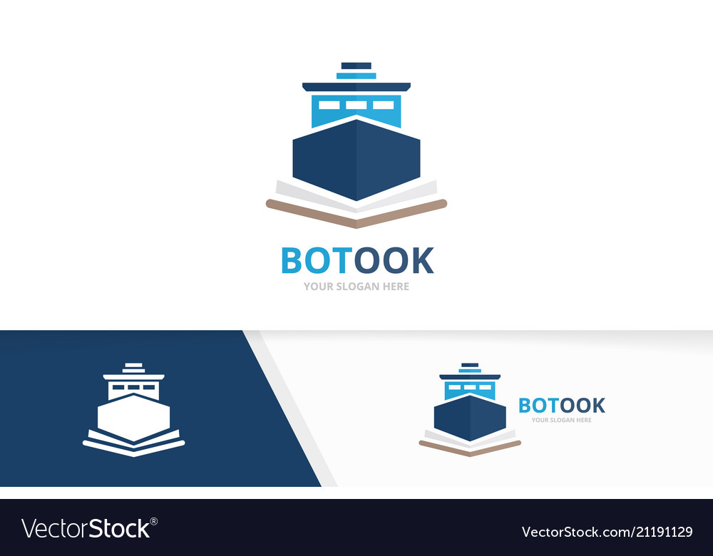 Ship and open book logo combination boat