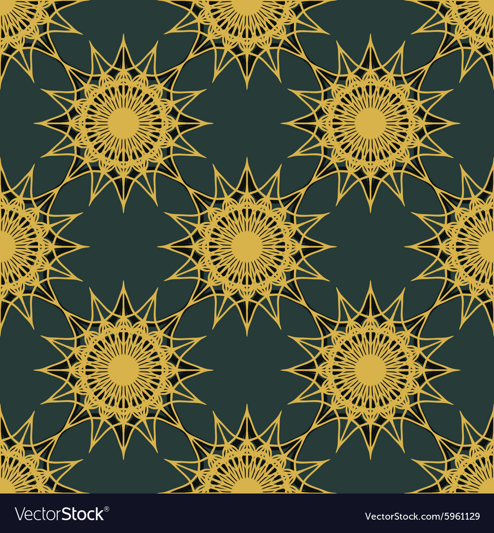 Vintage turquoise and gold seamless pattern