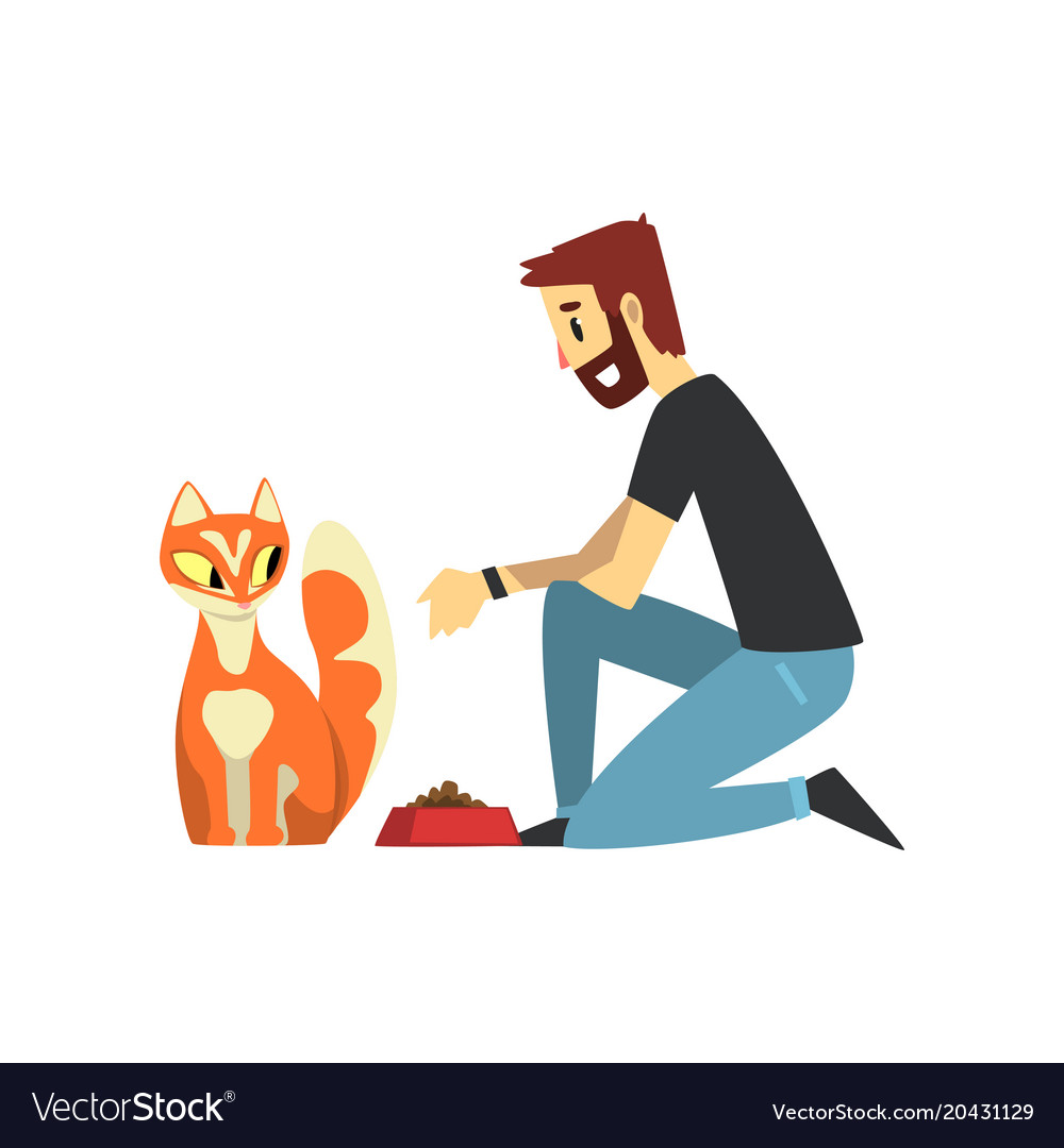 Young man feeding his cat man caring of his pets
