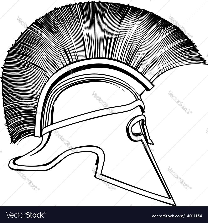 Black And White Ancient Greek Warrior Helmet Vector Image
